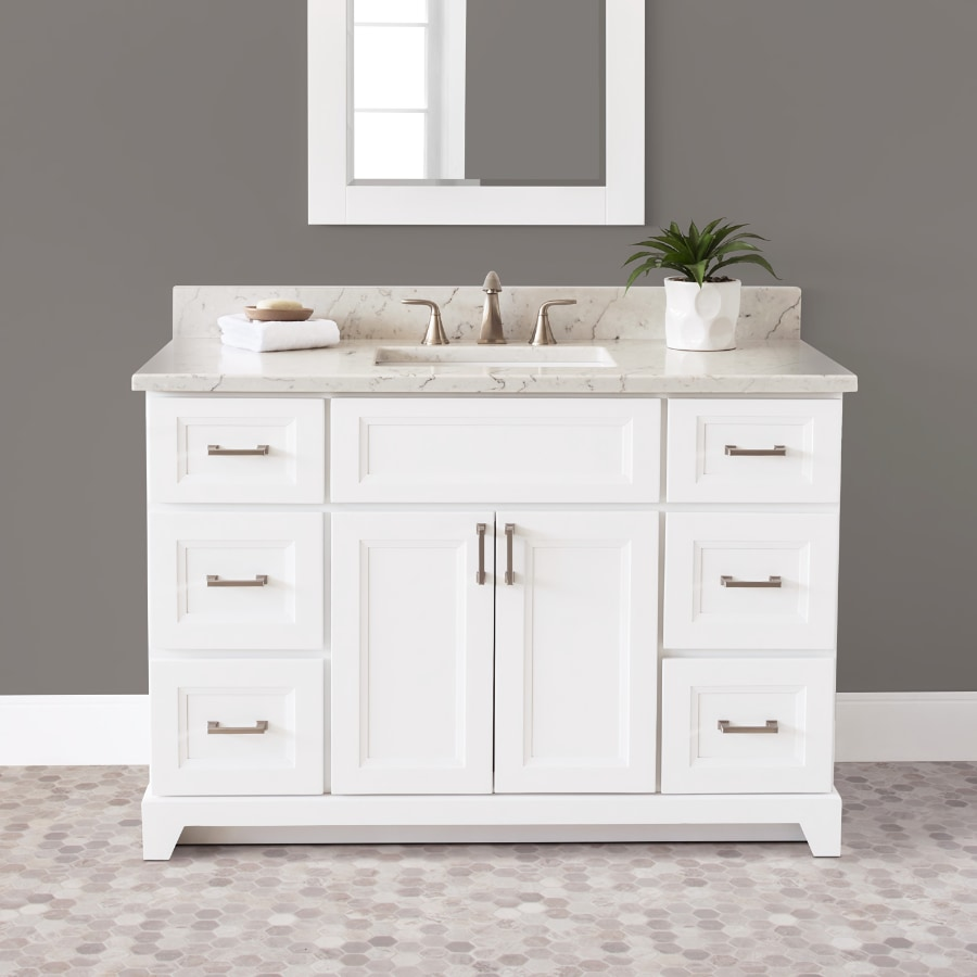 """Stonewood Bath Cabinetry 48"""" Vanity with Granite or Quartz Top and Undermount Sink"""