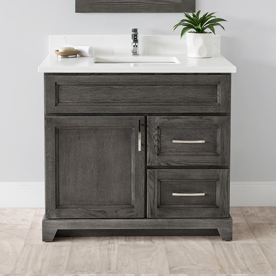"""Stonewood Bath Cabinetry 36"""" Vanity with Granite or Quartz Top and Undermount Sink"""