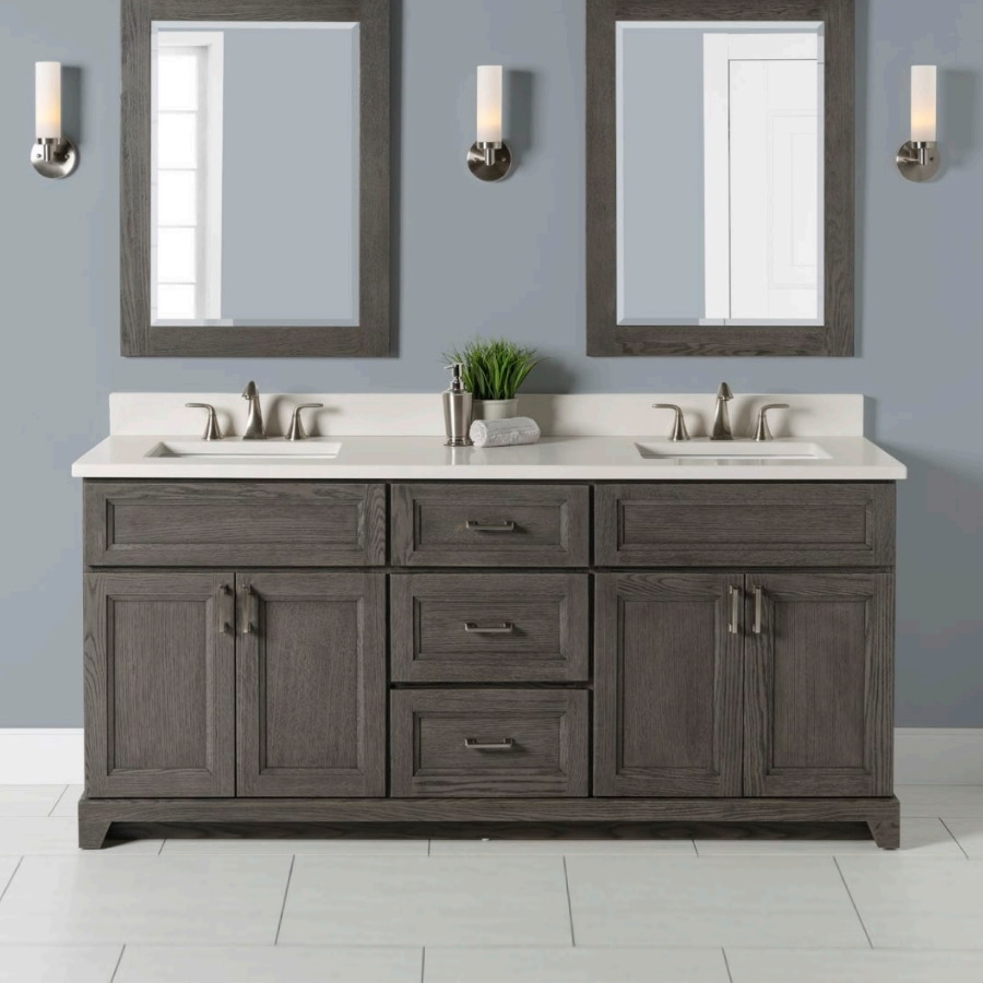 """Stonewood Bath Cabinetry 72"""" Vanity with Granite or Quartz Top and 2 Undermount Sink"""