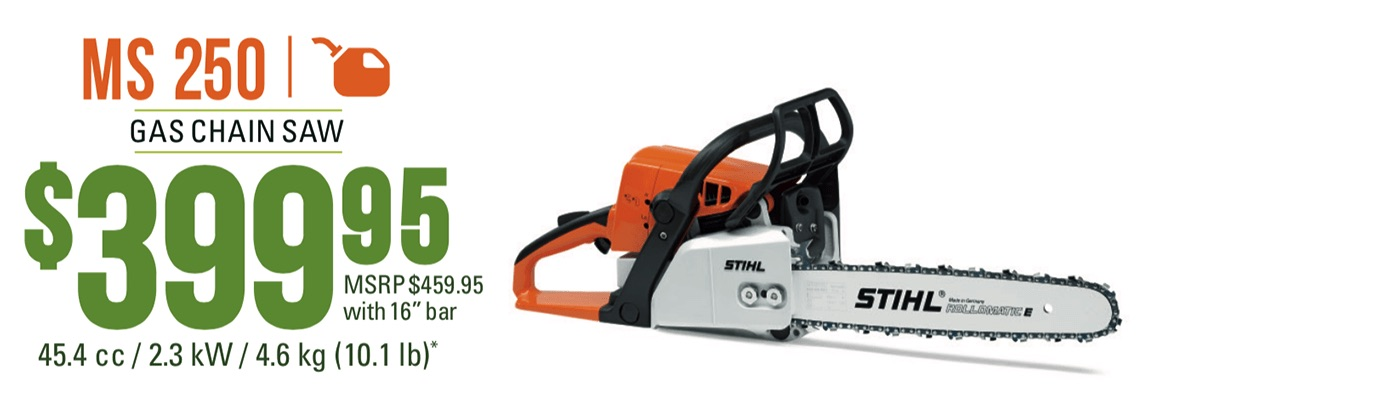 "STIHL MS 250: Gas Chain Saw With 18"" Bar"