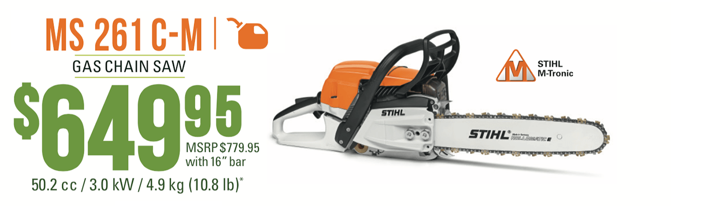"""STIHL MS 261 C-M With 16"""" Bar: Professional Gas Chain Saw with M-Tronic"""